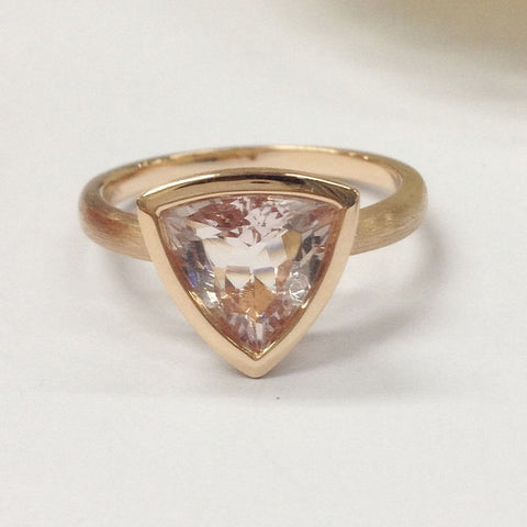 Trillion Morganite Engagement Ring 14K Rose Gold 9mm Solitaire Bezel Set - Lord of Gem Rings - 1