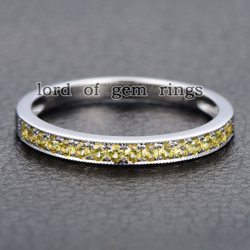 Pave Yellow Sapphire Wedding Band Half Eternity Anniversary Ring 14K White Gold - Lord of Gem Rings - 1