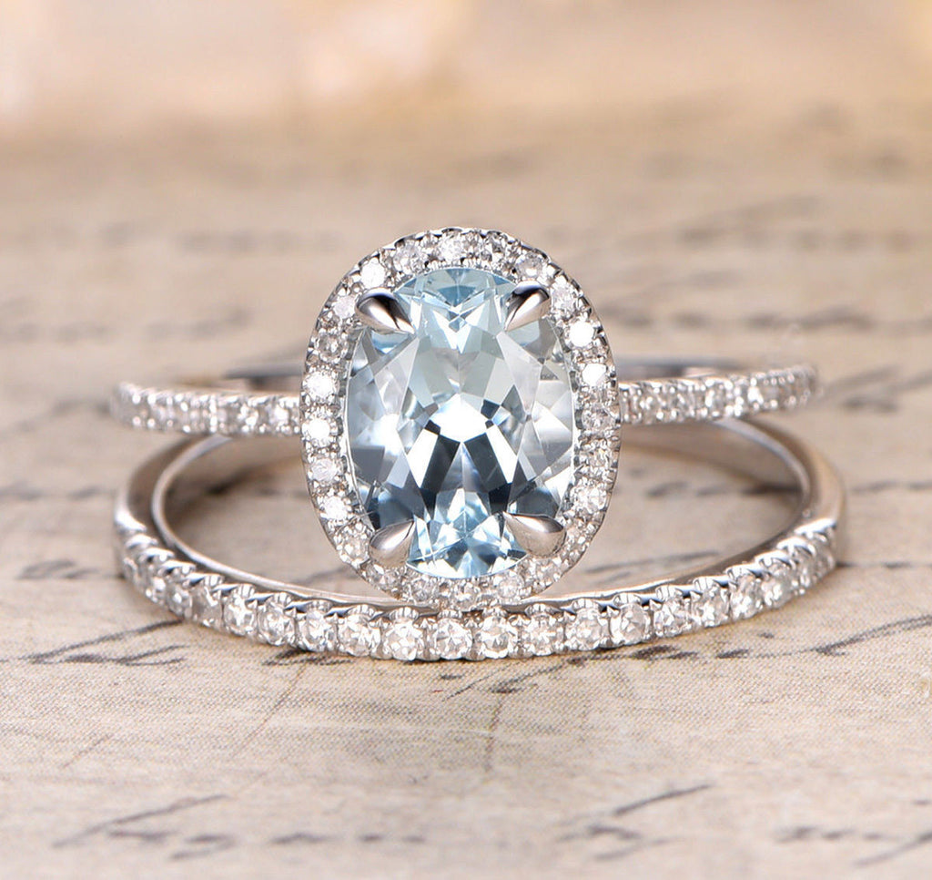 Oval Aquamarine Engagement Ring Sets Pave Diamond Wedding 14K White Gold 7x9mm - Lord of Gem Rings - 1