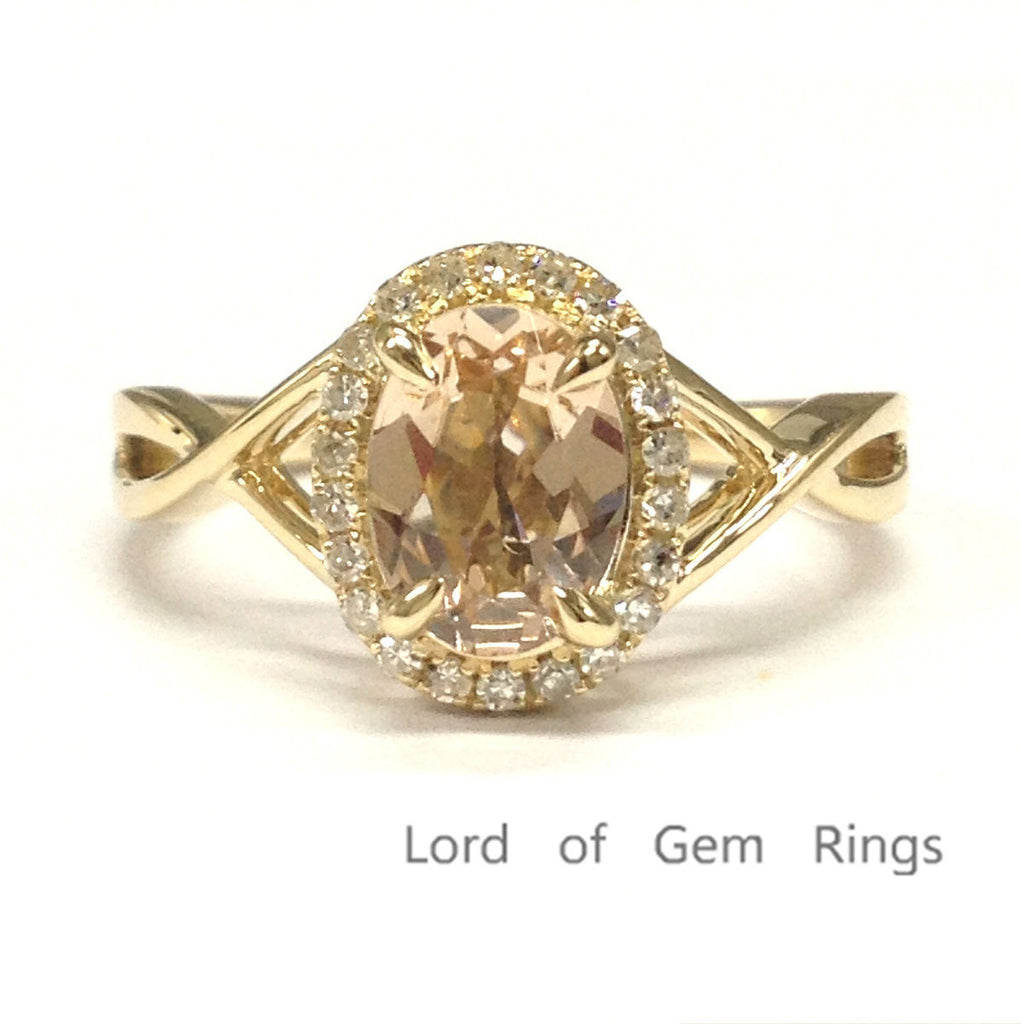 Oval Morganite Engagement Ring Pave Diamond Wedding 14K Yellow Gold 6x8mm - Lord of Gem Rings - 1
