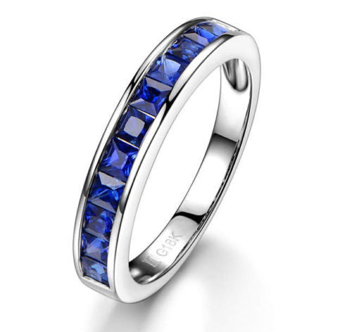 Princess Natural Blue Sapphire Wedding Band Half Eternity Anniversary Ring 18K White Gold Channel Set - Lord of Gem Rings - 1