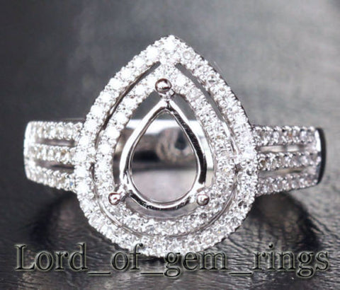 Diamond Engagement Semi Mount Ring 14K White Gold Setting Pear 6x8mm - Lord of Gem Rings - 1