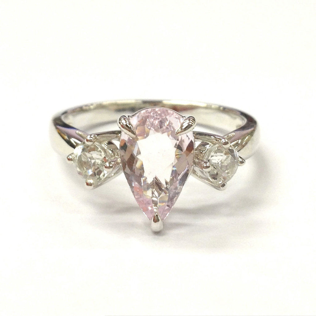 Pear Morganite Engagement Ring Round White Topaz 14K White Gold, 7x11mm,  4mm - Lord of Gem Rings - 1