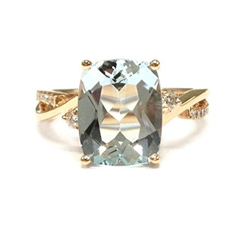 Cushion Aquamarine Engagement Ring Pave Diamond Wedding 14K Rose Gold,8x10mm - Lord of Gem Rings - 1