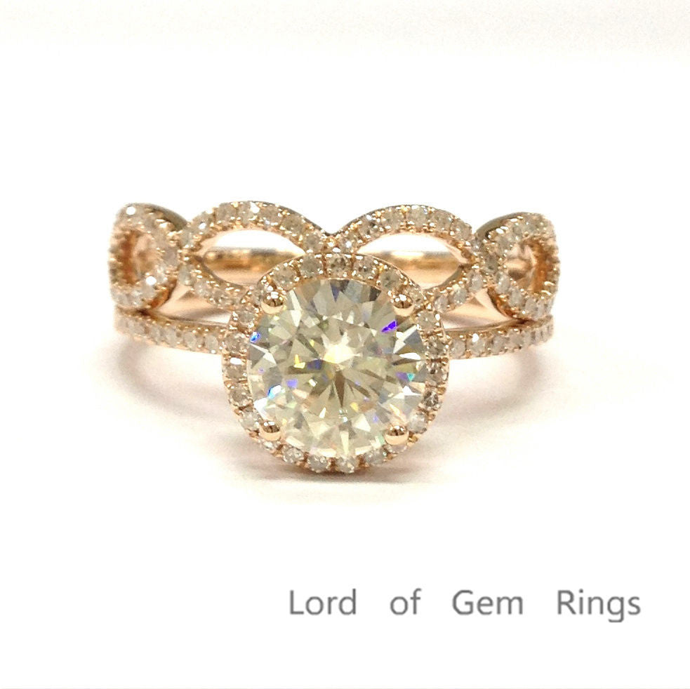 Reserved for Tony  Round Moissanite Engagement Ring Bridal Sets Pave Diamond Wedding 18K Yellow Gold - Lord of Gem Rings - 1