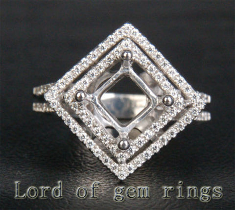 Diamond Engagement Semi Mount Ring 14K White Gold Setting Princess 7.5mm - Lord of Gem Rings - 1
