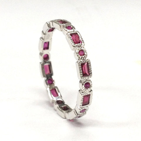 319 RoundBaguette Ruby Wedding Band Eternity Anniversary Ring 18K