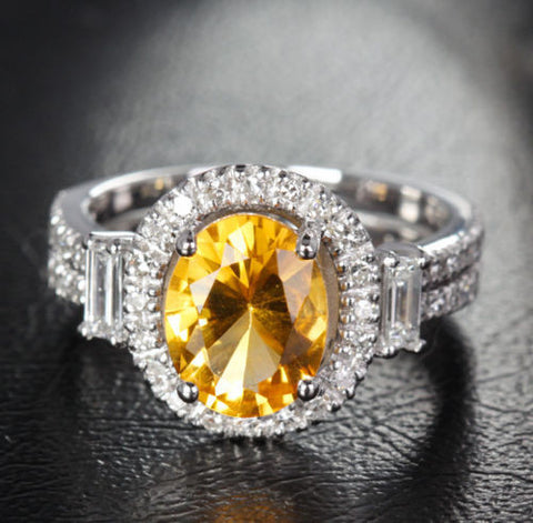 Oval Citrine Engagement Ring Baguette/Round Diamond Wedding 14K White Gold 7x9mm - Lord of Gem Rings - 1