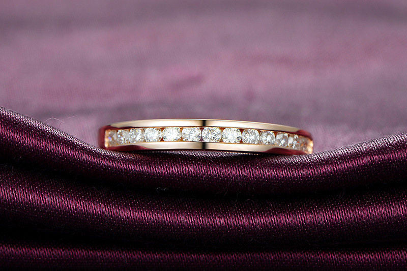 Diamond Wedding Band Half Eternity Anniversary Ring 18K Rose Gold - VS/H Channel Set - Lord of Gem Rings - 1