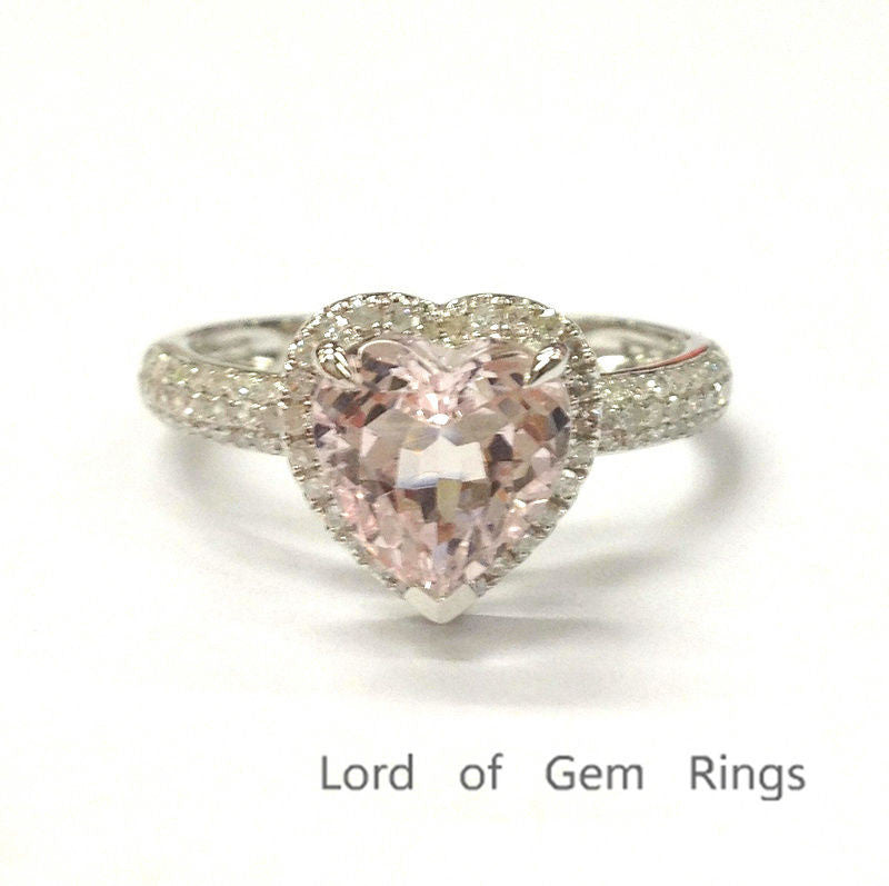 Heart Morganite Engagement Ring Pave Diamond  Wedding 14K White Gold 8mm - Lord of Gem Rings - 1