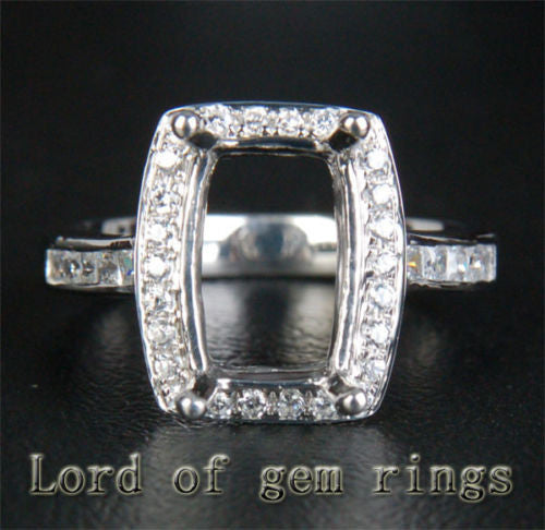 Diamond Engagement Semi Mount Ring 14K White Gold Setting Cushion 8x11mm - Lord of Gem Rings - 1