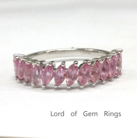 Marquise Pink Sapphire Wedding Band Half Eternity Anniversary Ring 14K White Gold 2x4mm - Lord of Gem Rings - 1