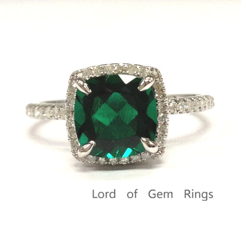 Cushion Emerald Engagement Ring Pave Diamond Wedding 14k White Gold 8mm Claw Prong - Lord of Gem Rings - 1