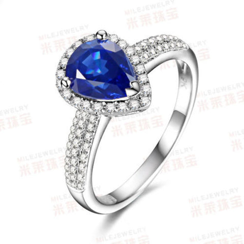 Pear Blue Sapphire Engagement Ring Pave VS Diamond Wedding 14K White Gold FASHION - Lord of Gem Rings - 1