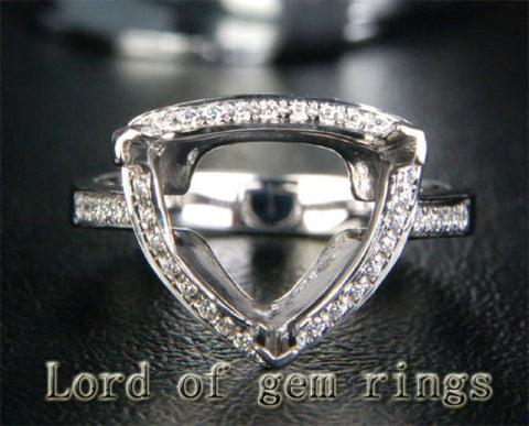 Diamond Engagement Semi Mount Ring 14K White Gold Setting Trillion 11mm - Lord of Gem Rings - 1