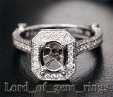 Diamond Engagement Semi Mount Ring 14K White Gold Oval 6x8mm Milgrain - Lord of Gem Rings - 1