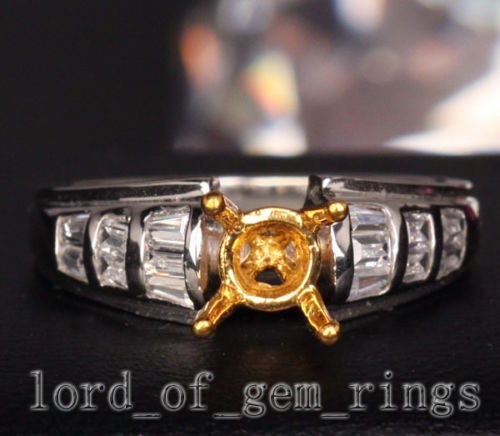Baguette Diamond Engagement Semi Mount Ring 14K Two Tone Gold Setting Round 6mm - Lord of Gem Rings - 1