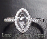 Diamond Engagement Semi Mount Ring 14K White Gold Setting Marquise 3.5x7mm - Lord of Gem Rings - 1