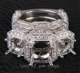 Round Cut Semi Mount 18K White Gold 2.52CTW Diamonds Antique Wedding Ring Sets 6# - Lord of Gem Rings - 1