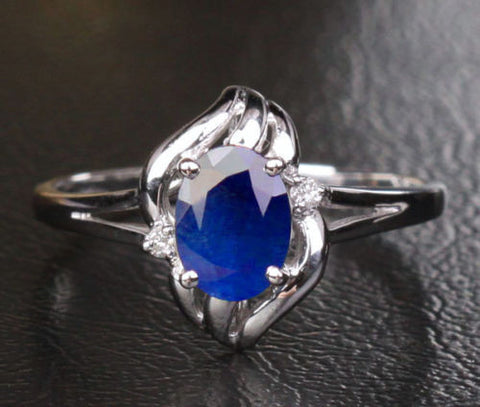Oval Blue Sapphire Engagement Ring Diamond Wedding 10k White Gold .98ct - Lord of Gem Rings - 1