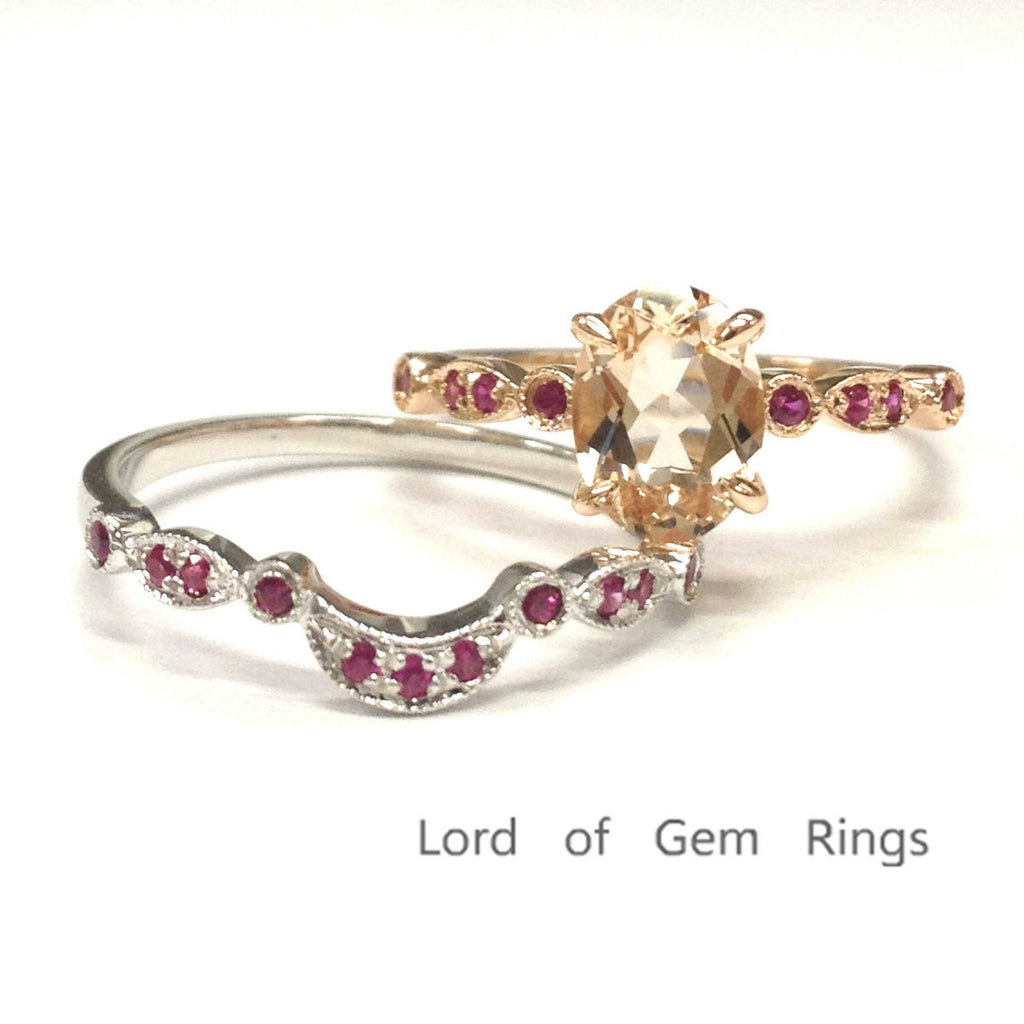 Oval Morganite Engagement Ring Sets Pave Ruby Wedding 14K Rose Gold 6x8mm, White Gold Band - Lord of Gem Rings - 1