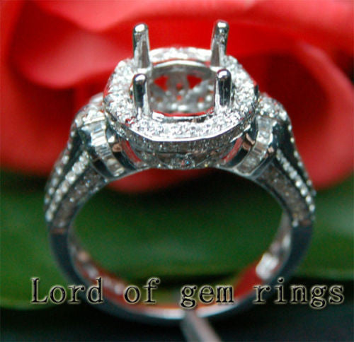 Diamond Engagement Semi Mount Ring 14K White Gold Setting Round 7.5-8mm - Lord of Gem Rings - 1