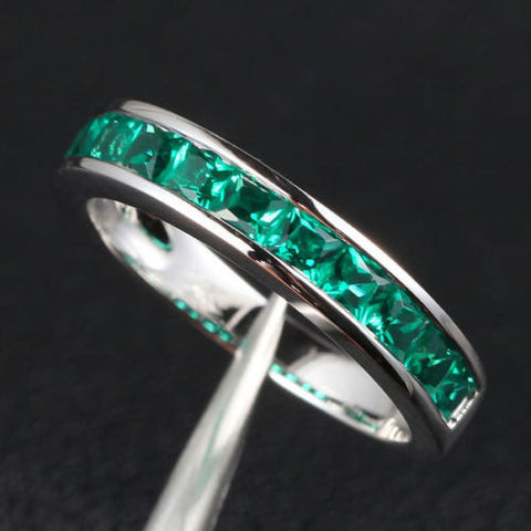 Princess Emerald Wedding Band Half Eternity Anniversary Ring 14K White Gold  Channel-Set - Lord of Gem Rings - 1