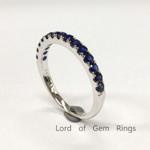 Sapphire Wedding Band Half Eternity Anniversary Ring 14K White Gold 2mm Stackable - Lord of Gem Rings - 1