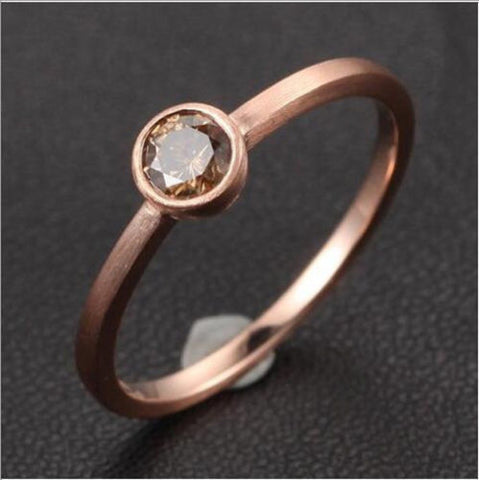 Sienna Brown Diamond Engagement Ring 14K Rose Gold Solitaire