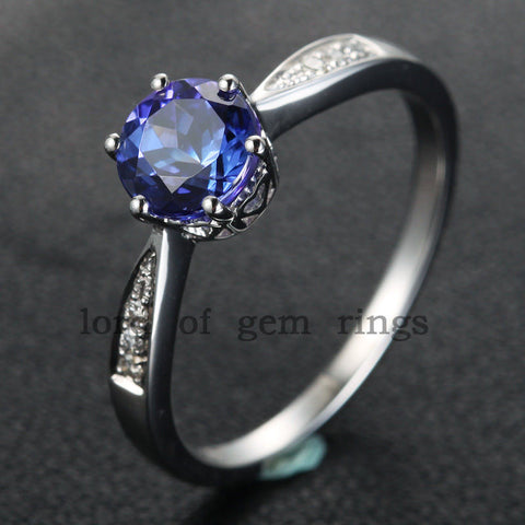 Reserved for Beau  repair and shipping, Round Tanzanite Engagement Ring - Lord of Gem Rings - 1