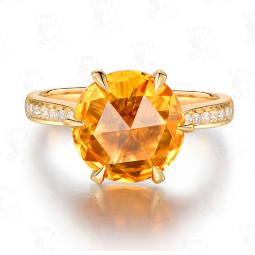 Round Citrine Engagement Ring Pave Diamond Wedding 18k Yellow Gold Claw Prong - Lord of Gem Rings - 1