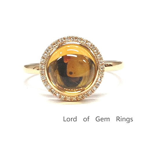 Round Citrine Engagement Ring Pave Diamond Halo 14K Rose Gold,10mm - Lord of Gem Rings - 1