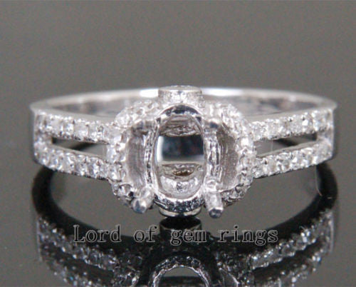 Oval Cut 5x7mm Real 14K White Gold Pave .36CT Diamond Engagement Semi Mount Ring - Lord of Gem Rings - 1