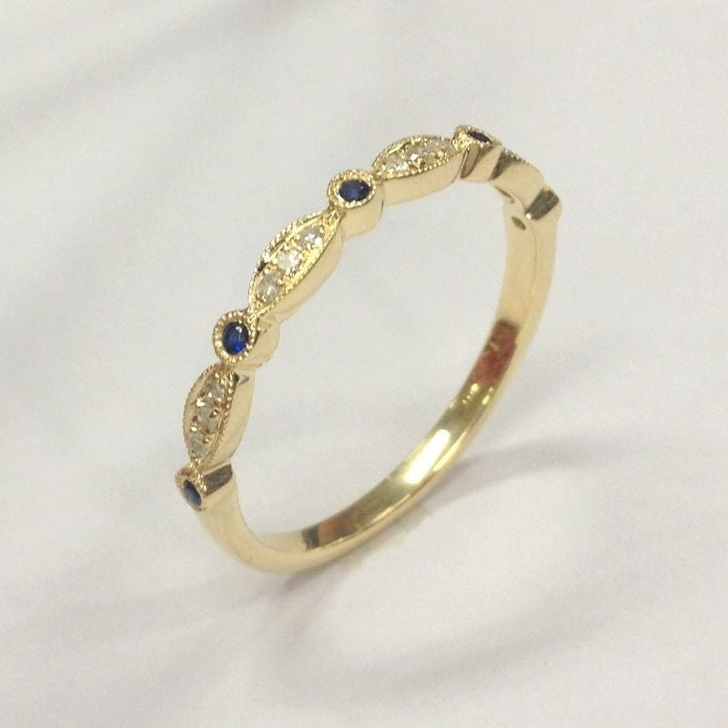 Pave Diamond Blue Sapphire Wedding Band Half Eternity Anniversary 14K Yellow Gold Art Deco Antique - Lord of Gem Rings - 1