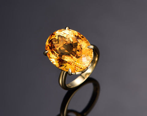Oval Citrine Engagement Ring 14x18mm 14K Yellow Gold Solitaire - Lord of Gem Rings