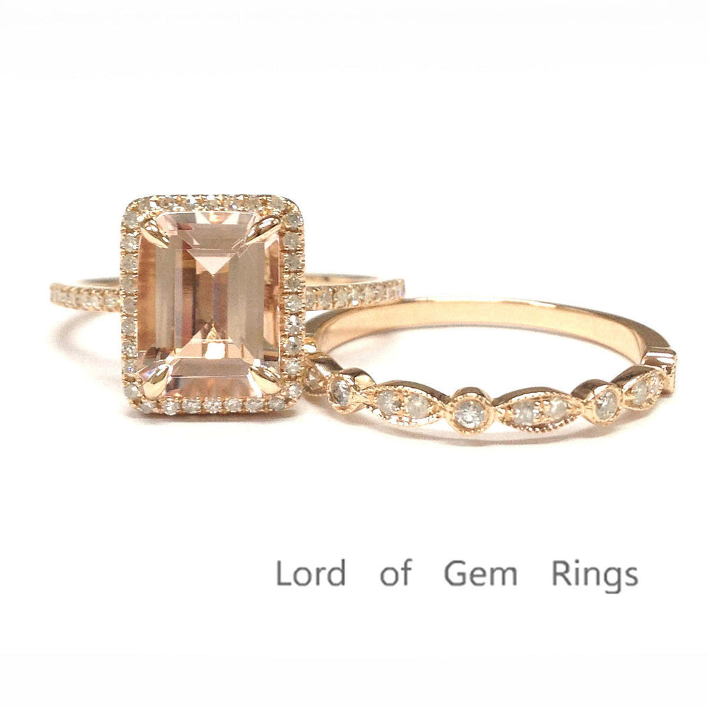 Emerald Cut Morganite Engagement Ring Sets Pave Diamond Wedding 14K Rose Gold 7x9mm, Art Decos Band - Lord of Gem Rings - 1