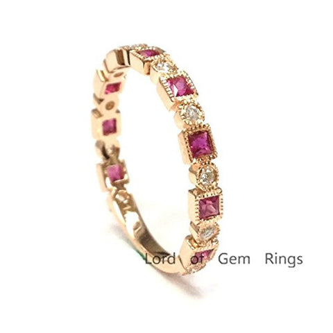 Princess Ruby Diamond Wedding Band 3/4 Eternity Anniversary Ring 14K Rose Gold - Lord of Gem Rings - 1