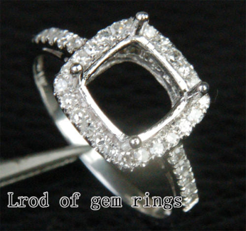 Diamond Engagement Semi Mount Ring 14K White Gold Setting Cushion 8mm - Lord of Gem Rings - 1