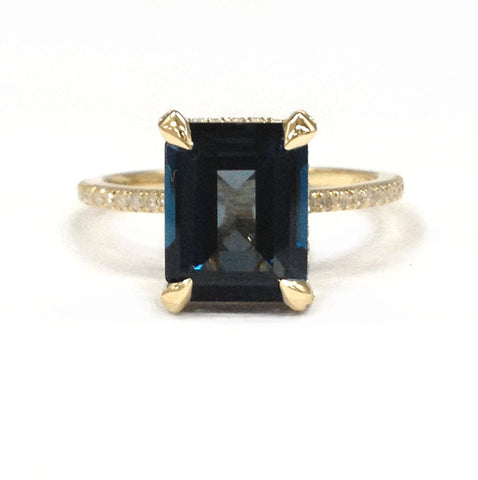 Emerald Cut London Blue Topaz Engagement Ring Pave Diamond Wedding 14K Yellow Gold 8x10mm - Lord of Gem Rings - 1