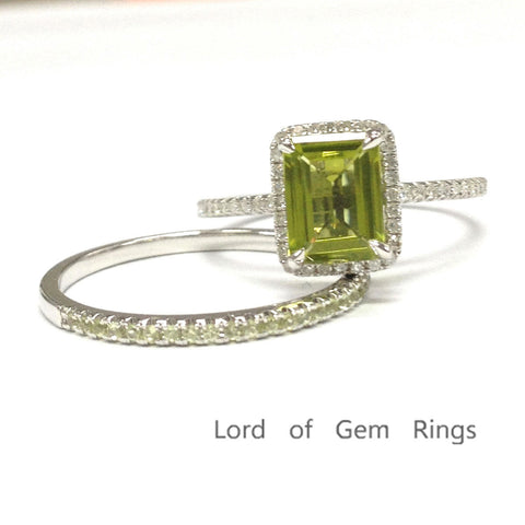 Emerald Cut Peridot Engagement Ring Sets Pave Diamond / Peridot Band 14K White Gold 6x8mm - Lord of Gem Rings - 1