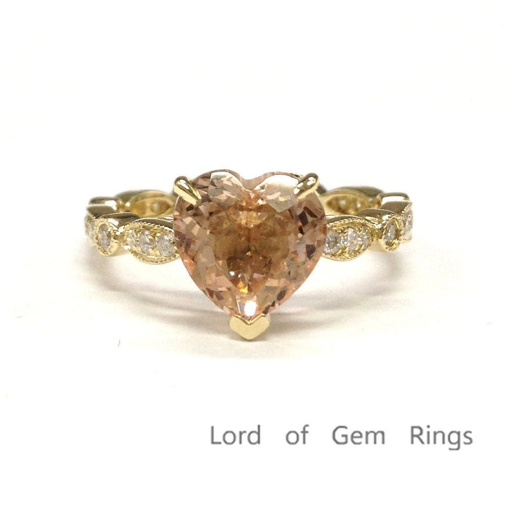 Heart Shaped Morganite Engagement Ring Pave Diamond Wedding 14K Yellow Gold 8mm  Art Deco - Lord of Gem Rings - 1