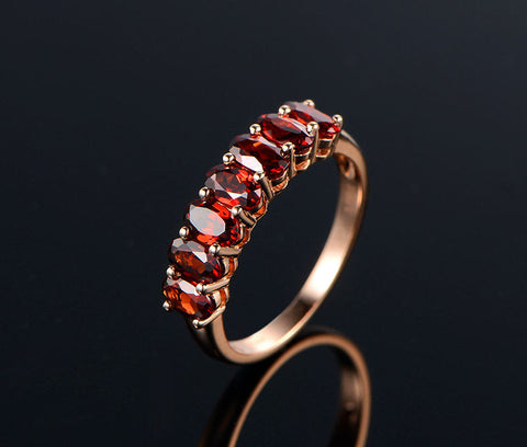 Oval Red Garnet Ring 14K Rose Gold Wedding Band 3x5mm 7Stones - Lord of Gem Rings - 1