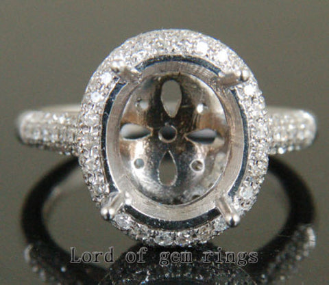 Diamonds Engagement Semi Mount Ring 14K White Gold Setting Oval 10x12mm - Lord of Gem Rings - 1