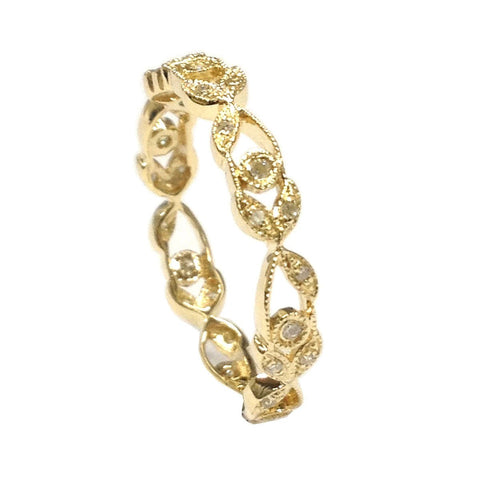 Floral Leaf Eternity Diamond Wedding Band Anniversary Ring 14K Yellow Gold