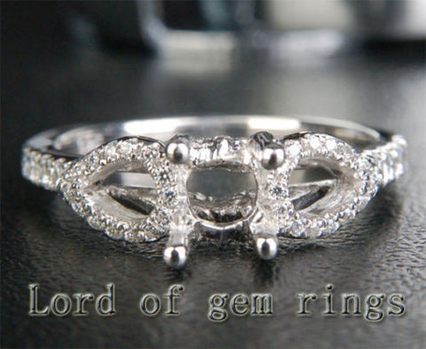 Diamond Engagement Semi Mount Ring 14K White Gold Setting Round 6mm - Lord of Gem Rings - 1