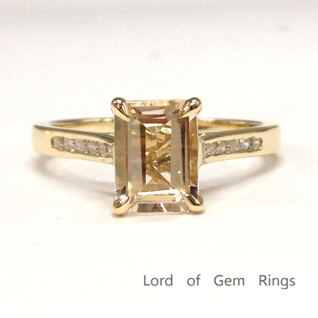 Emerald Cut Morganite Engagement Ring Pave Diamond Wedding 14K Yellow Gold 6x8mm Channel Set Prongs - Lord of Gem Rings - 1