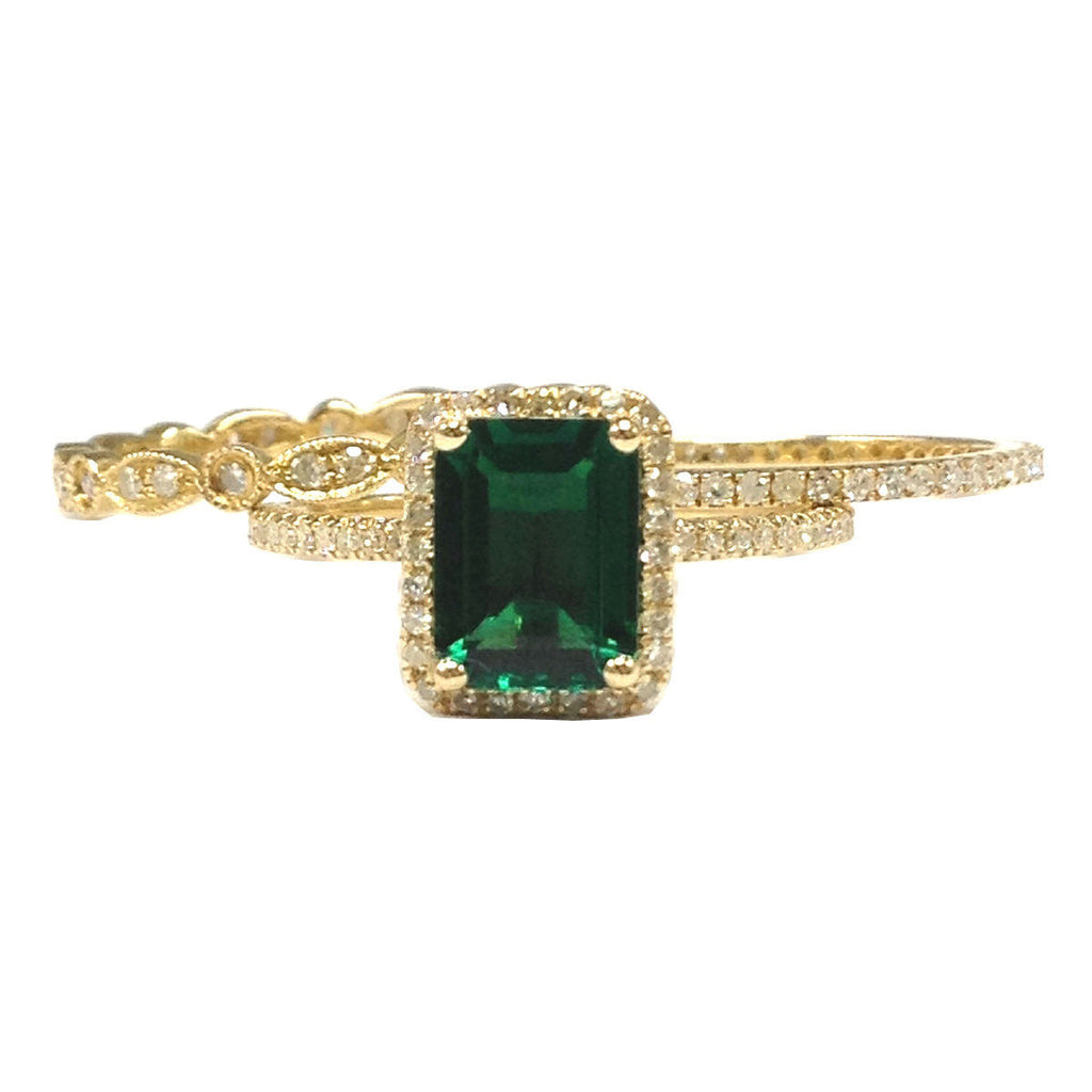 Emerald Shape Emerald Engagement Ring Trio Sets Pave Diamond Wedding 14K Yellow Gold 6x8mm Full Eternity Band - Lord of Gem Rings - 1