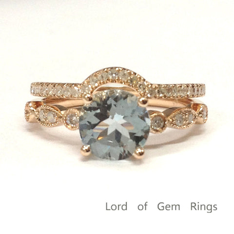 Round Aquamarine Engagement Ring Sets Pave Diamond  Wedding 14K Rose Gold 6.5mm - Lord of Gem Rings - 1