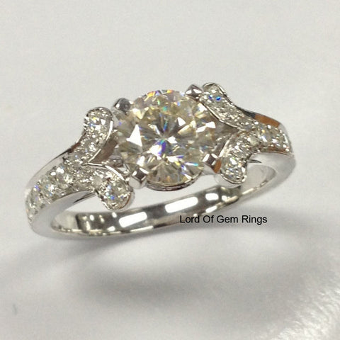 Round Moissanite Engagement Ring Pave Moissanite Diamond Wedding 14K White Gold 6.5mm - Lord of Gem Rings - 1