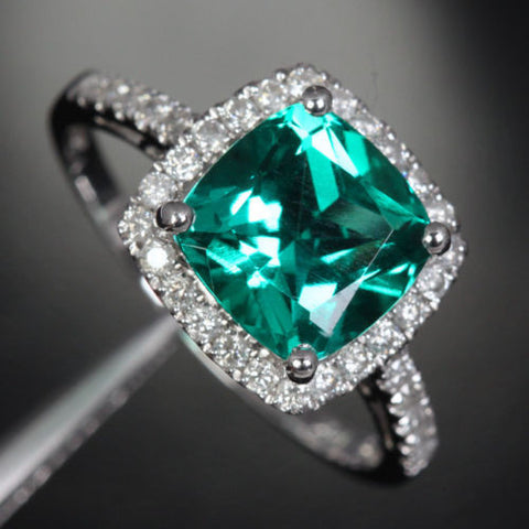 Cushion Emerald Engagement Ring Pave Diamond Wedding 14k White Gold 8mm - Lord of Gem Rings - 1